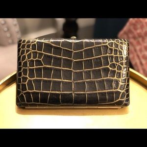 Abas Full Frame Croc Leather Clutch Wallet
